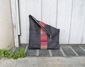 Large Pouch, Foldover Clutch, Zipper Bag, Handbag, Purse, Jean Bag, Vegan Purse, Guatemalan Fabric, Gift Ideas, Women's Gift