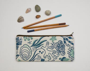 Handprinted Tide Pool Pencil Case - Zipper Pouch - Screen Printed Accessory Bag - Back to School Supply - Cotton Bag - Marine - Sea Life
