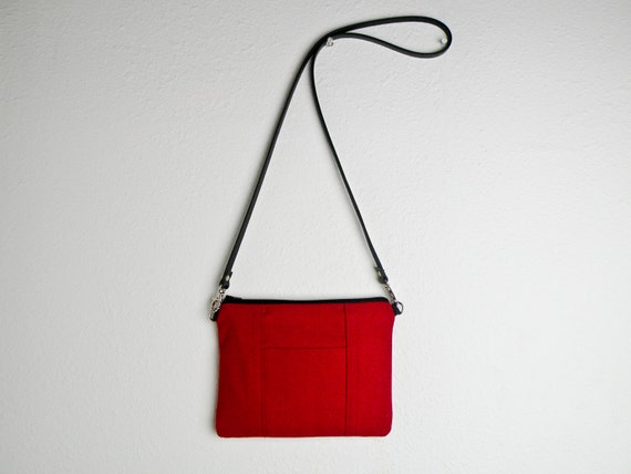 b375d8177adc Handmade Tiny Purse in Red Small Canvas Cross body Bag Red