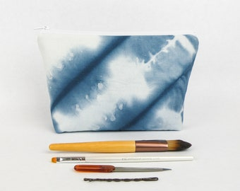 Shibori Makeup Bag - Indigo Dye Fabric - Hand Dyed Zipper Pouch - Cosmetic Bag - Hand Dyed Fabric Bag - Cotton Handmade Bag