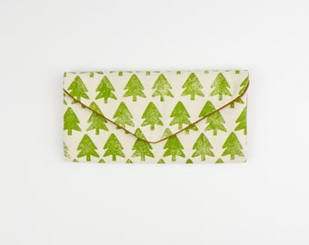 Handmade Evergreen Tree Clutch - Forest Trifold Wallet - Handprited Canvas Wallet - Vegan Billfold - Clutch - Tree Wallet