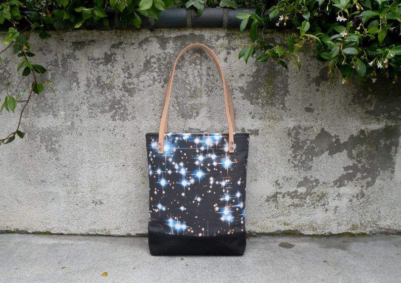 Outer Space Tote Bag  Handmade Market tote with Hubble Image image 0