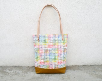 Rainbow Watercolor Canvas Tote Bag - Vintage Color Guide Fabric - Shoulder Bag, Colorful Handbag, Artists Tote