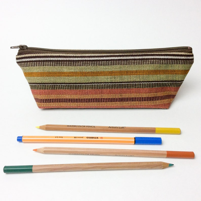 Pencil Case Zipper Pouch Guatemalan Bag Ikat Desert Sunset Southwestern Makeup Bag Woven Fabric