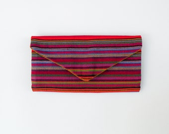 Handmade Trifold Wallet Guatemalan Handwoven Textiles - Rainbow Ikat Pattern - Billfold Canvas Wallet Vegan Heavy Duty Clutch