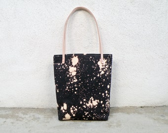 Black Canvas Tote Bag, HandDyed Purse, One of a Kind Shoulder Bag, Unique Evening Bag, Market Bag, Diaper Bag, Day Bag, Bleach Dye, Handmade