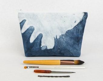 Indigo Shibori Dye Makeup Bag - Blue White Pencil Case - Shibori Fabric Bag Indigo Zipper Pouch - Hand Dyed Fabric Pouch - Handmade