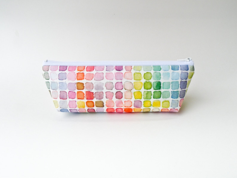 Rainbow Watercolor Pencil Case  Rainbow Checkered Grid  image 0