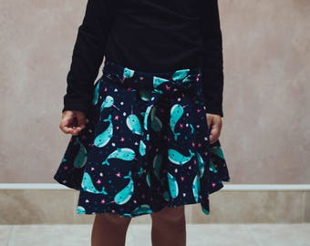 Narwhal Unicorn of the Sea Print Circle Skirt- size 2/3T