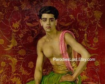 SEMI-NUDE University STUDENT Anglo Indian Man Portrait William Bruce Ellis Ranken Print Oil Painting Hibiscus Flower Gay Interest Floral Art