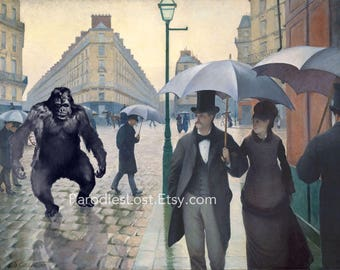 Gorilla PARIS RAINY DAY Caillebotte 19th Century Great Masters Parody  Print Monkey Ape