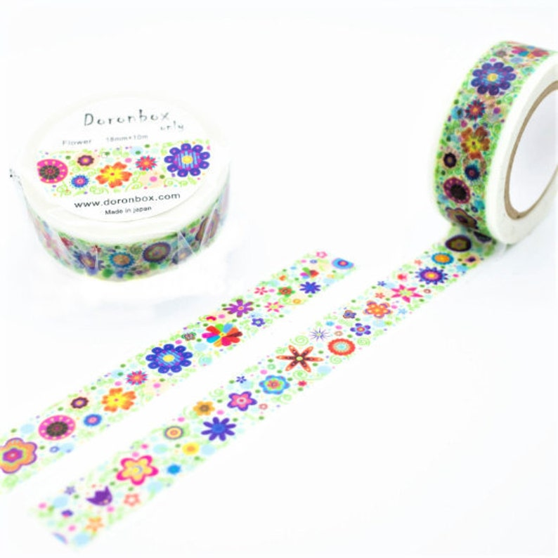 Flowerbox washi tape 34 Doronbox Japan bullet journal planner  masking scrapbook diary stationery washi tape floral flowers flower