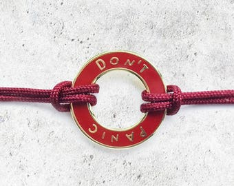 Red Don't Panic Hitchhiker's Guide Bracelet- HHGTTH Men's/Women's Astronomy Bracelet - Space Jewelry