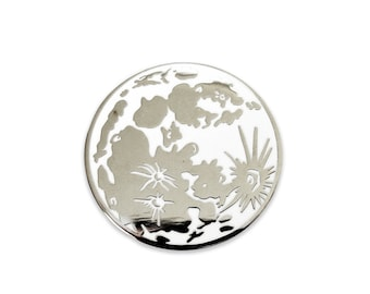 Full Moon Celestial Enamel Pin - Moon Phase Lapel Pin- Space & Astronomy Lovers Gift