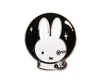 Borg Bunny Illustrated Enamel Pin- Kawaii Minimalist Lapel Brooch - Trekkie Lovers Space Gift