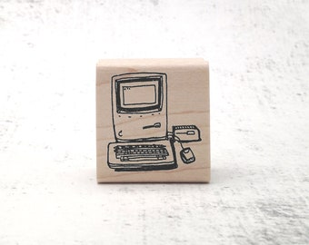 Desktop Computer Icon Rubber Stamp for Stamping Crafting Planners