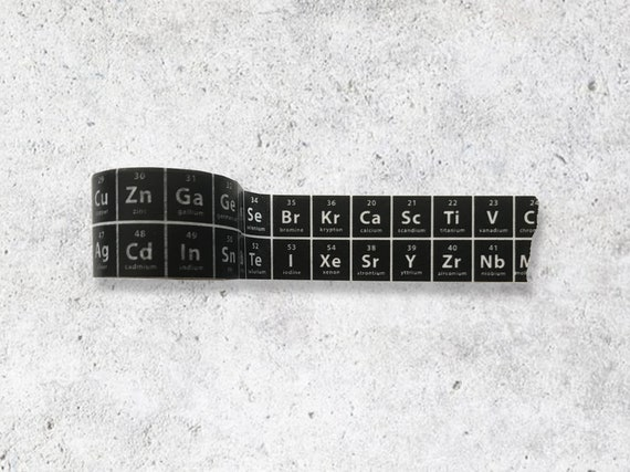 Black The Periodic Table Of Elements Washi Tape Chemistry Etsy