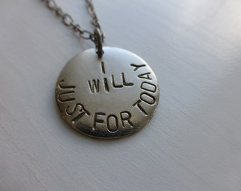 eating disorder recovery jewelry slogan addiction weight loss handmade, I will just for today mantra fitness motivation inspiration quote
