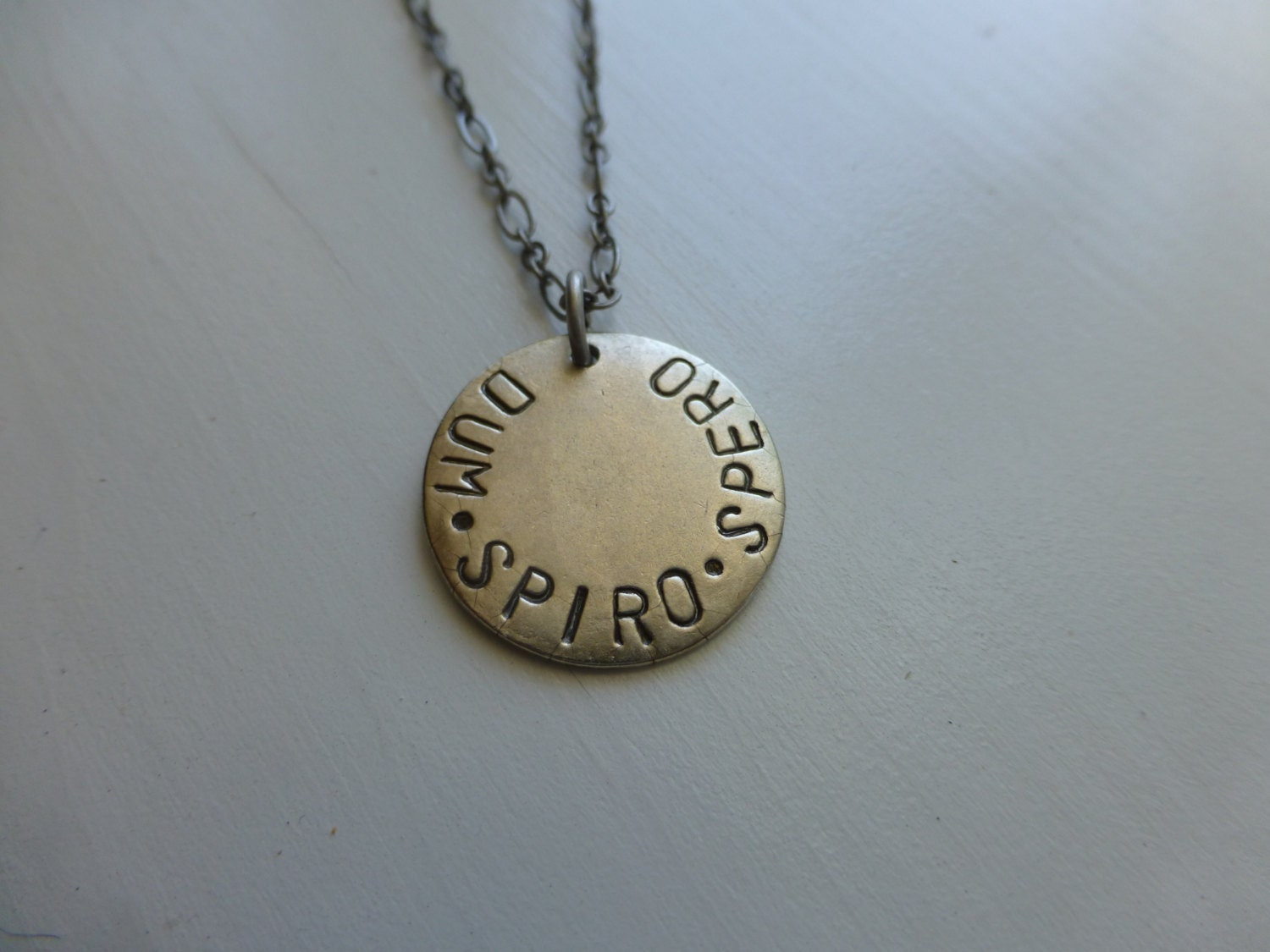 latin word hand stamped necklace gender neutral Dum Spiro Sperp men or  women inspirational saying healing recovery jewelry loss hope love