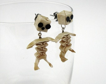 origami skeleton stud earrings