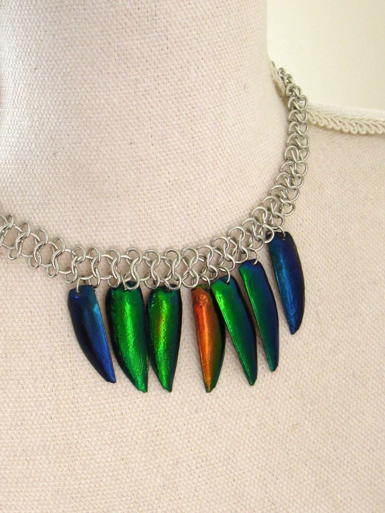 remade from vintage OOAK real elytra jewel beetle wing cases choker