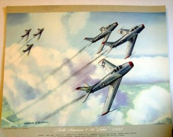 1950s Vintage North American F86 Sabre Fighter Jet USAF 670mph