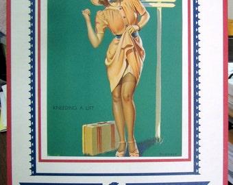 1943 WWII War Time Elvgren Pinup 40s Girlie Full Calendar Thighs Nylons