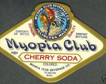 1920s Myopia Club Indian Headress Islington MA Cherry Soda Label