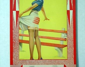 1964 Frahm Pinup Calendar 40s Girlie Thigh High Nylons Gams