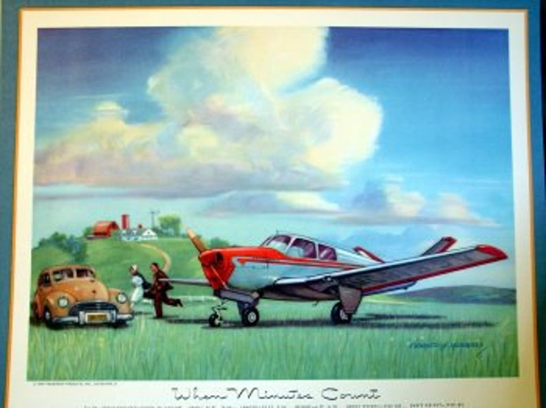1940s Vintage Aircraft Beech Bonanza Model 35 4 Place Flying Doctor