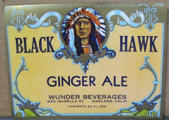 Native American Indian Blackhawk Vintage  Root Beer Label