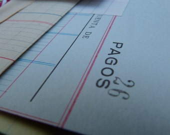 10 Vintage LEDGER PAPER - Ephemera pack - Antique ledger sheets from Spain, used and blank