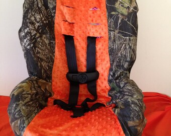 CAMO ORANGE MINKY Ready To Ship Fabric Toddler And Infant Convertible Car Seat Cover Fits Cosco Scenera Very Similair