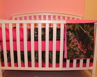 7pc Camo Mossy Oak Fabric Pink Crib Bedding Nursery Set With Etsy
