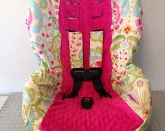 Kumari Gardens Hot Pink Minky Toddler Convertible Car Seat Cover Fits Cosco Scenera With Strap Covers READY To SHIP