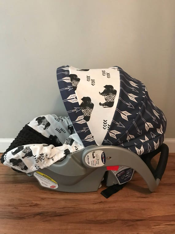Astounding Aztex Buffalo Navy Arrows With Black Minky Dot Fabric Baby Infant Car Seat Cover Forskolin Free Trial Chair Design Images Forskolin Free Trialorg