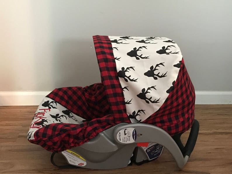 Diaper Bag /& Car Seat carrier Cover made with Red Plaid and Hello Bear Buck Night deer fabric with monogram and minky strap covers for baby