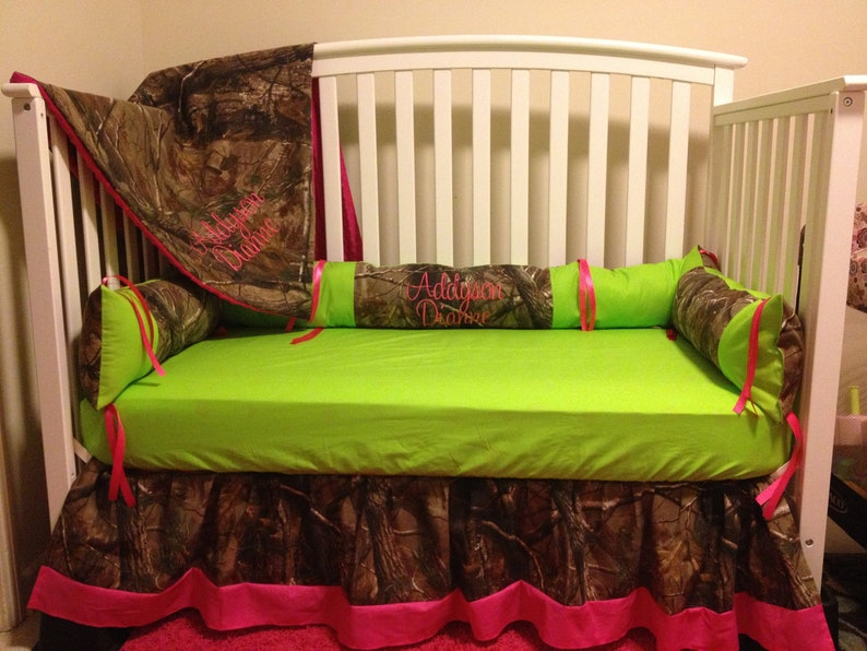 5 pc crib set Camo RealTree fabric with lime /& pink baby Crib Bedding Set with Minky Dots and FREE Monograms and Diaper Stacker