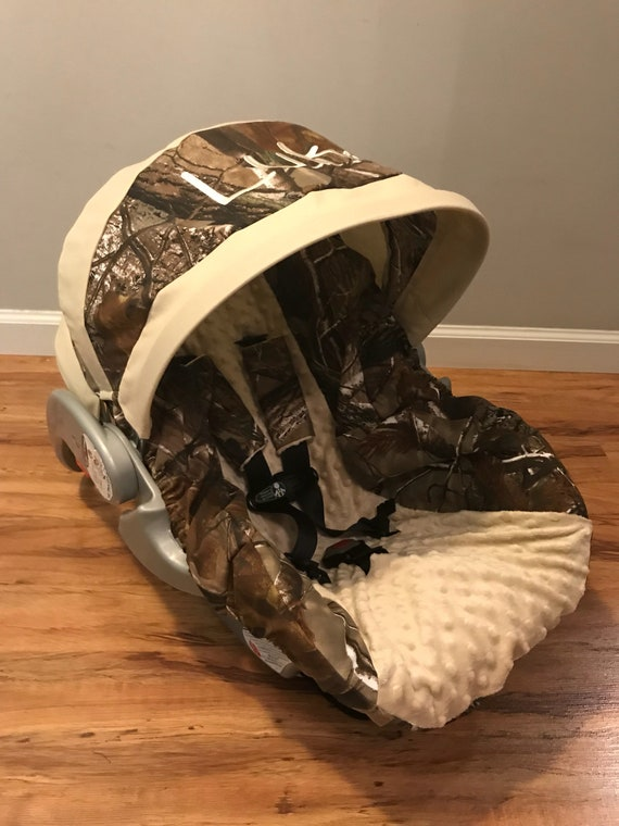 Fine Realtree Camo Fabric With Tan Minky Dot Infant Car Seat Cover And Canopy Visor With Free Monogram And Strap Covers Forskolin Free Trial Chair Design Images Forskolin Free Trialorg
