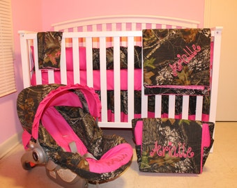 7pc  Camo Mossy Oak fabric & pink crib bedding nursery set with diaper bag