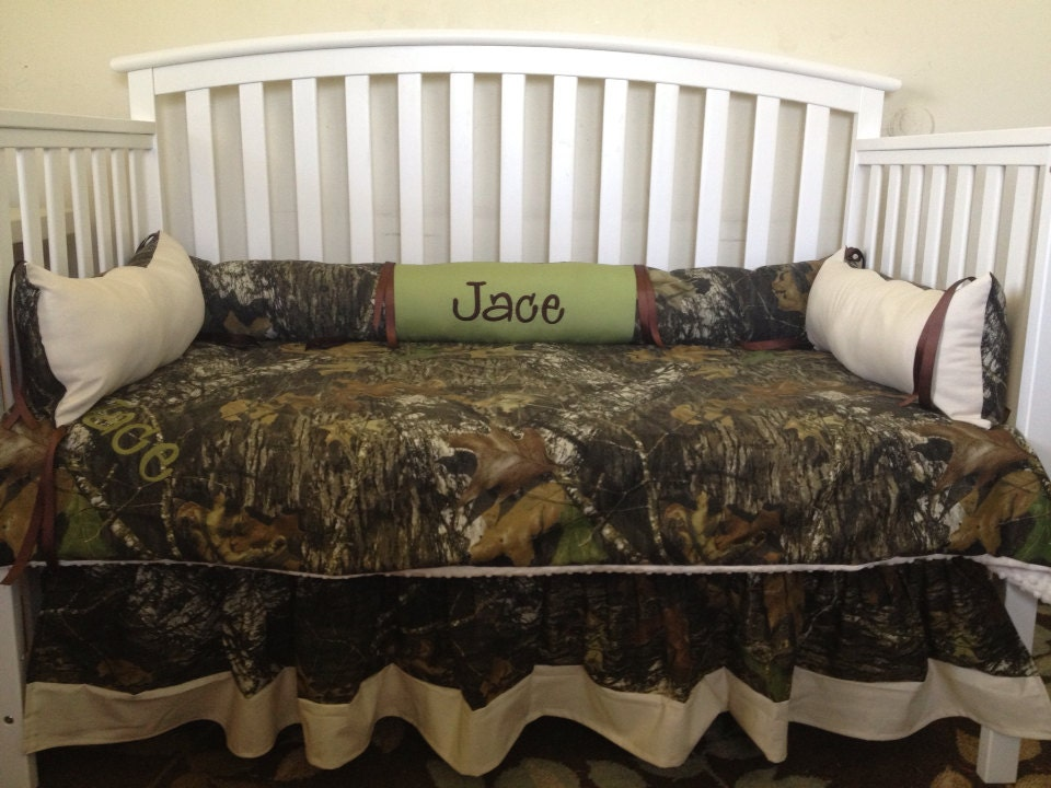 Camo Mossy Oak And Sage And Ivory 4 Pc Crib Bedding Set With