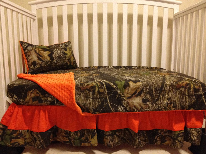 7pc Camo Mossy Oak Fabric Pink Crib Bedding Nursery Set: Camo 4 Piece Set Made With Mossy Oak Fabric And Orange