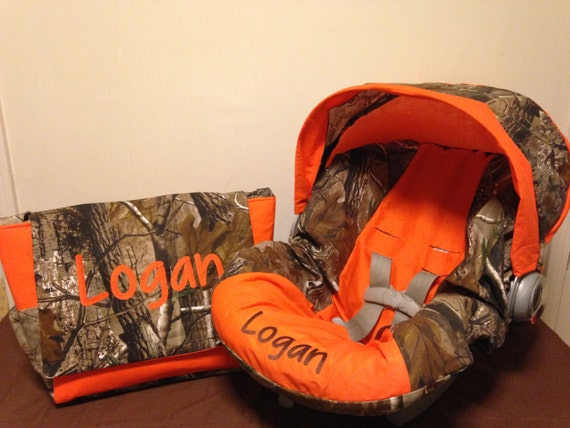 REALTREE Fabric CAMO Orange Infant Car Seat Cover With