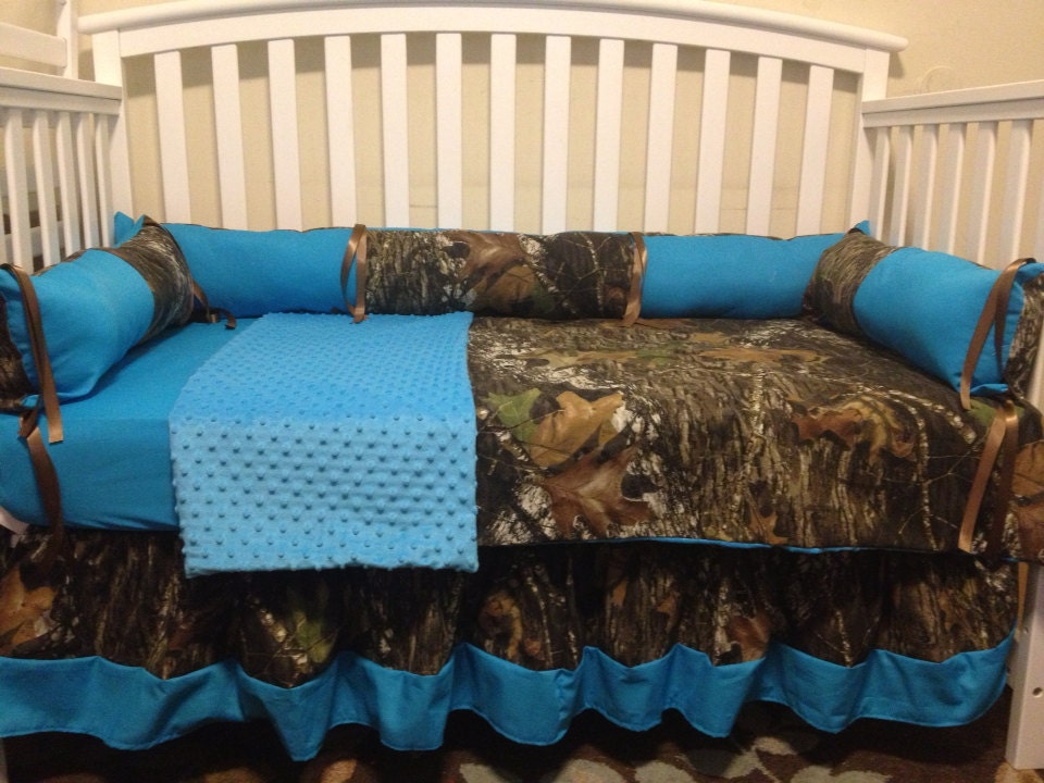 7pc Camo Mossy Oak Fabric Pink Crib Bedding Nursery Set: Camo Mossy Oak And Turquoise 4 Pc Crib Bedding Set With