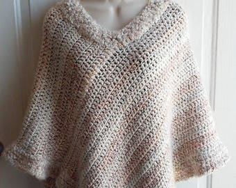 Poncho -Tan and Cream Crochet