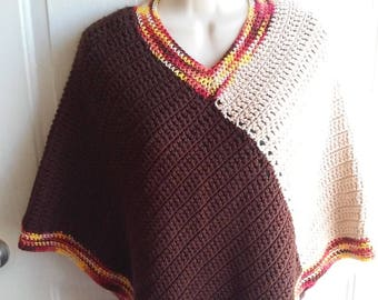 Poncho - Brown, Tan, Orange and Yellow Crochet