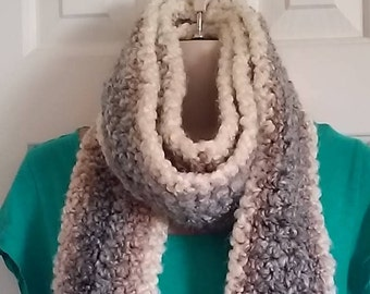 Crochet Scarf - Cream, Brown and Blue