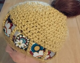 bac12e16d Crochet Ponytail Beanie - Mustard Yellow With Flower Band