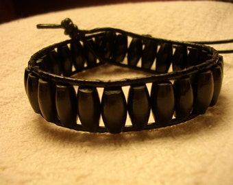 Black Wood Bead Wrap Bracelet