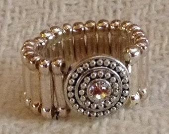 Silver and Crystal Stretch Pinky Ring